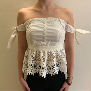 Tops - Off Shoulder White Peplum Lace Top